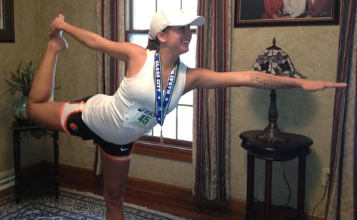 Nicole in Natarajasana after her 7th marathon!! | by VillageYogaChicago
