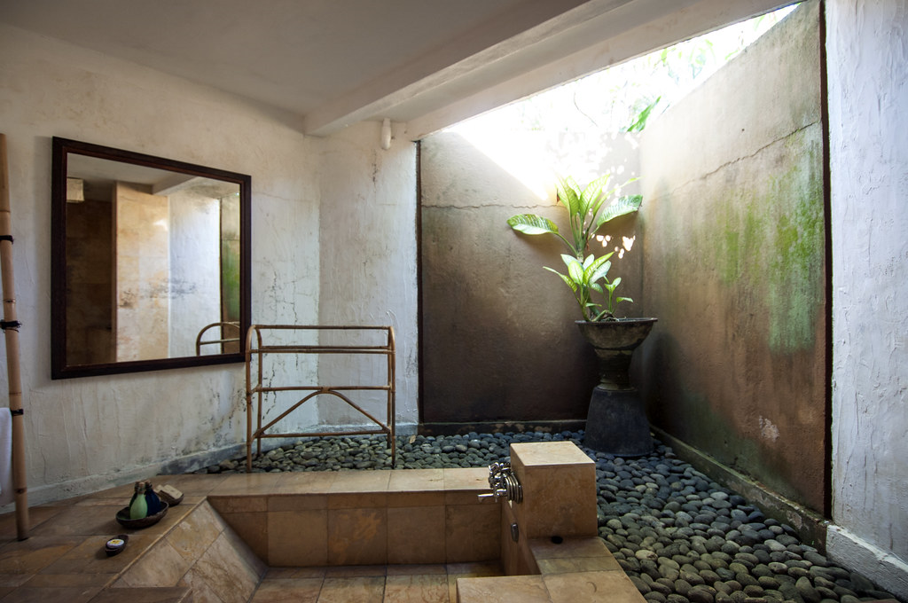 Bathroom partly open air at wakamaya resort spa villas for Open air bathroom designs