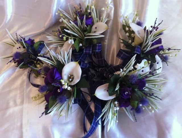 Cadbury Purple Silk Wedding Flowers : Nancy pkg a brides scottish wedding bouquet of cadbury