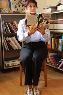 For (a) We're Here- people reading (b) 365 self portrait 152/ fun with flickr  (c)Mocking MOnday - Georgie (d) people reading group | by Joyce Latham