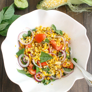 Charred Corn Salad with Basil and Tomatoes | by Tracey's Culinary Adventures