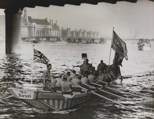 Oarsmen bringing the Olympic Flag, London, 1948. | by National Science and Media Museum