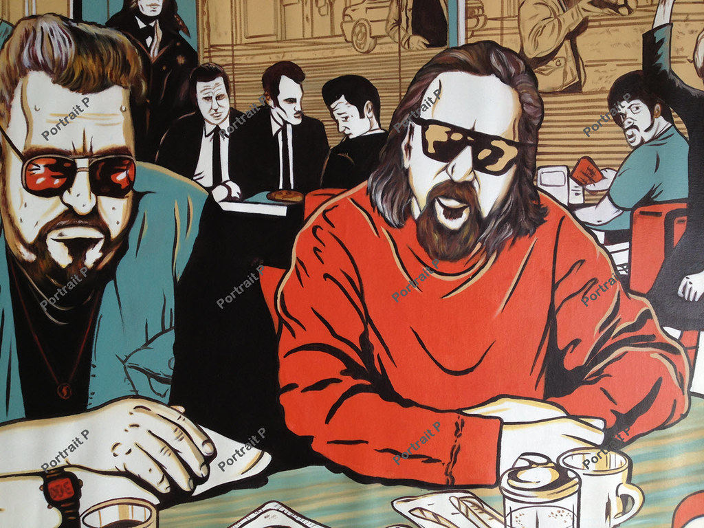 The Big Lebowski Reservoir Dogs Pulp Fiction Movie Poster 100 Hand Painted Art Oil