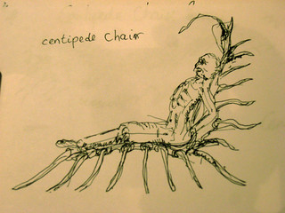 Sketch for centipede chaise longue | by rosemarybeetle