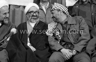 Iran - 18/02/1979 - after the islamic take over, Press conference  in Refa scholl *Yassir Arafat is welcomed by the islamic government of Medhi Bazargan /// apres la revolution islamique victorieuse . Yasser Arafat est acceuilli par le gouvernement de Med | by setboun photos