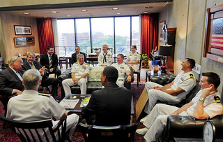 Boston Mayor Thomas M. Menino, far left, talks to Sailors during a Boston Navy Week 2012 event. | by Official U.S. Navy Imagery