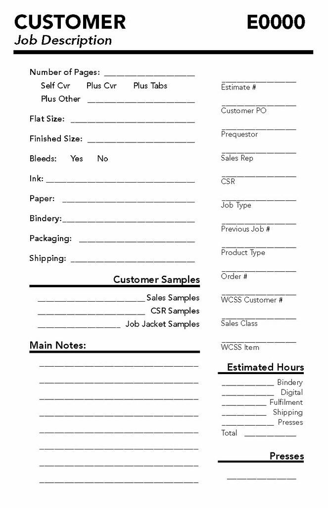 Sample Work Order Form. Online Print Solutions Orderdesk Job ...