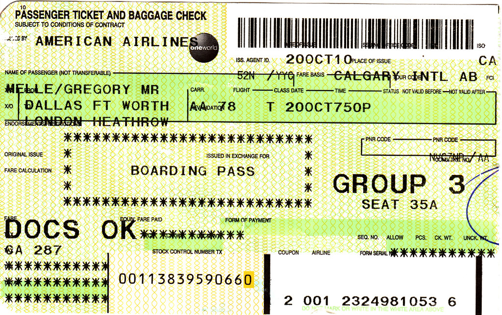 AA 2010-10-20 American Airlines Ticket/Boarding Pass | Flickr