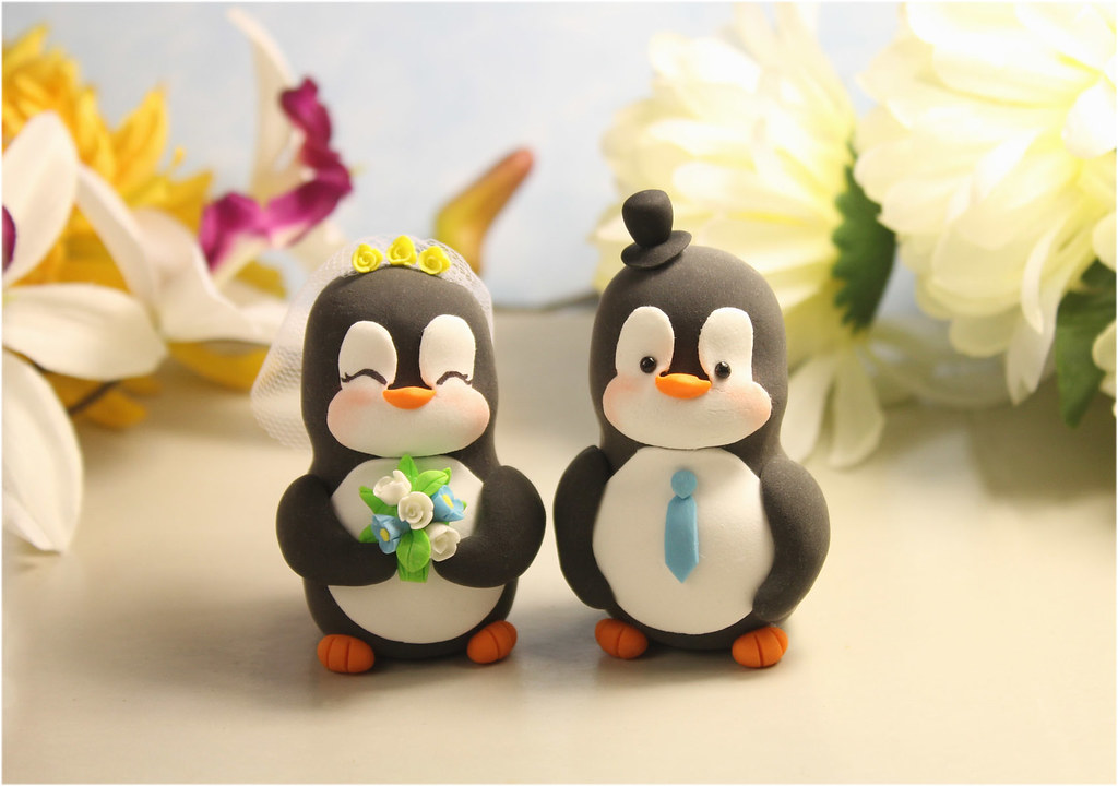 penguin cake toppers wedding custom penguins wedding cake toppers unique penguin 6441