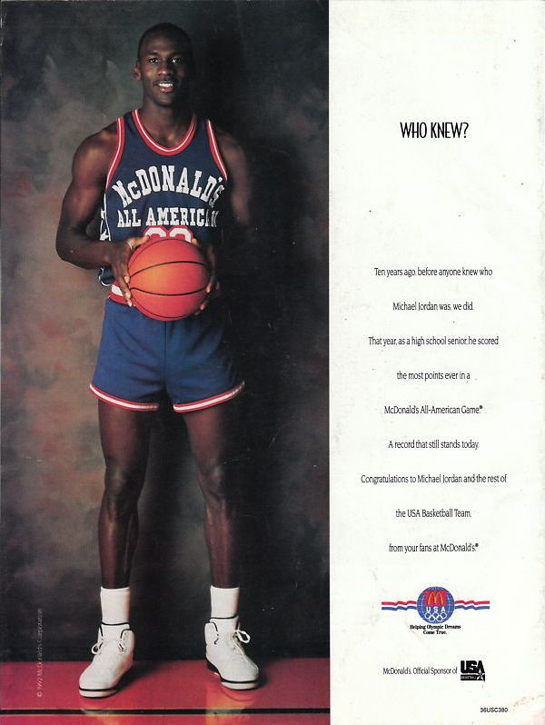 1992 Mcdonalds All American ad featuring Michael Jordan ...