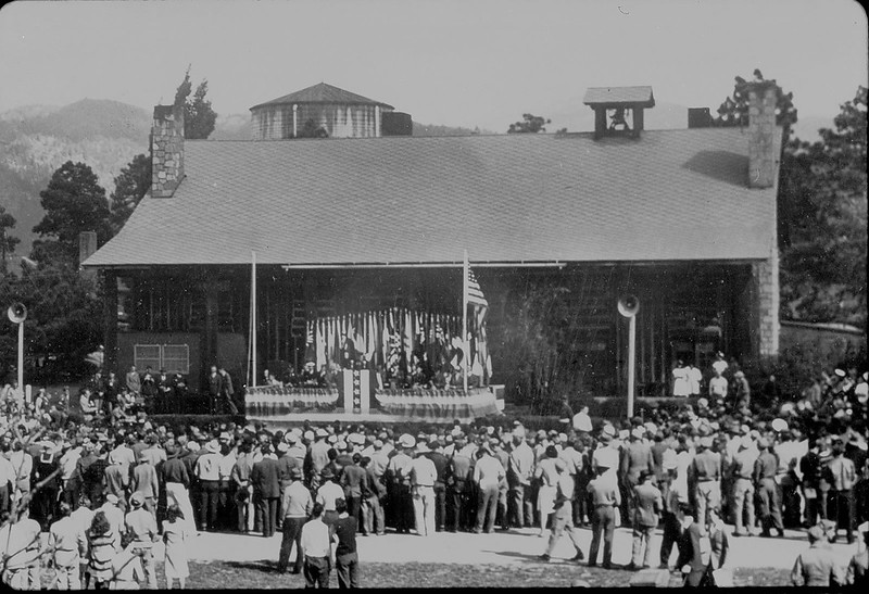 This photograph, apparently from a 1945 award ceremony, shows Fuller Lodge in downtown Los Alamos as it looked more than 70 years ago