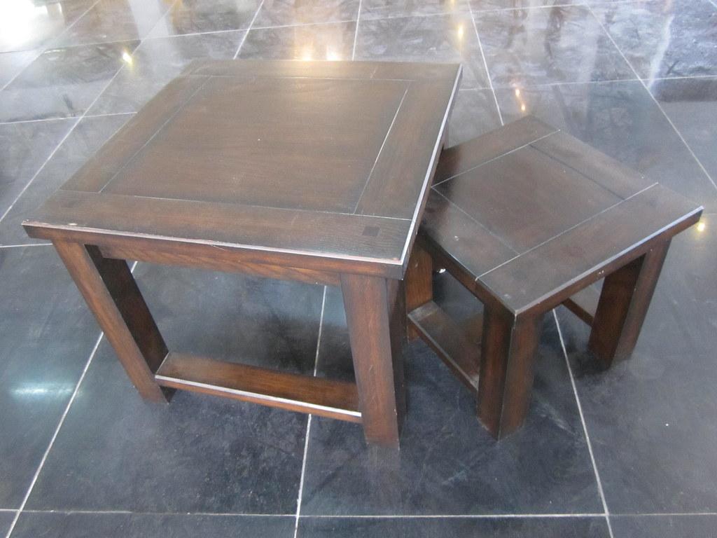 Oak oak veneer coffee table with stools underneath 0055 flickr - Coffee tables with chairs underneath ...