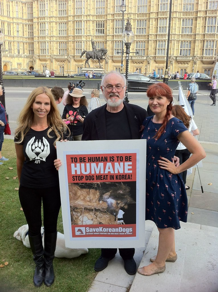 Sept 12, 2016.  UK Parliament Debate on South Korean Dog Meat Trade.  Vigil held outside Westminster, London.