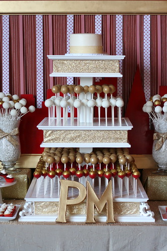 Gold and Red Wedding Dessert Table | by Sweet Lauren Cakes