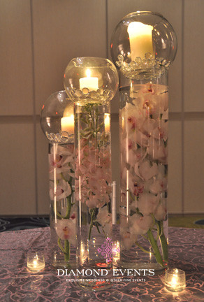 Tall Submerged Orchids and Pillar Candle Centerpieces | Flickr