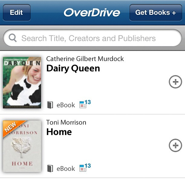 Day 16: What you're reading -- ebooks from the library! Thanks Overdrive and Mid-Hudson Library System! #photoaday #photoadaymay #may #day16 #home #tonimorrison #dairyqueen #ya #youngadult #overdrivemedia #ebooks #mhls