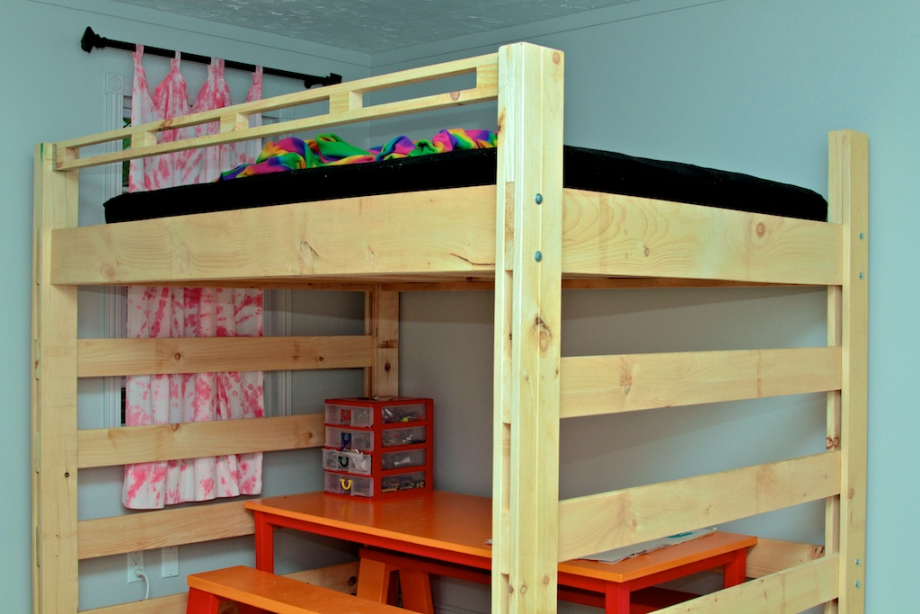 Mid Loft Bed With Desk