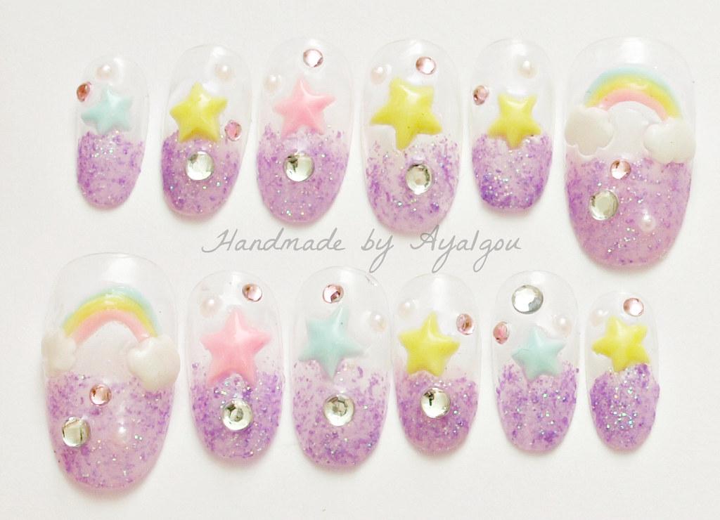 Fairy kei kawaii 3D nails | Handmade by me ^^ | aya1gou | Flickr