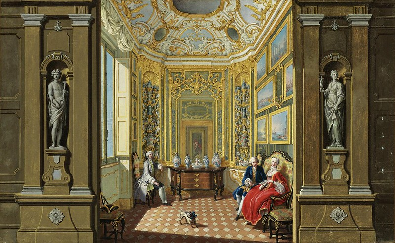Giuseppe Zocchi - Elegant figures seated in the Picture and Porcelain Cabinet of a Palace