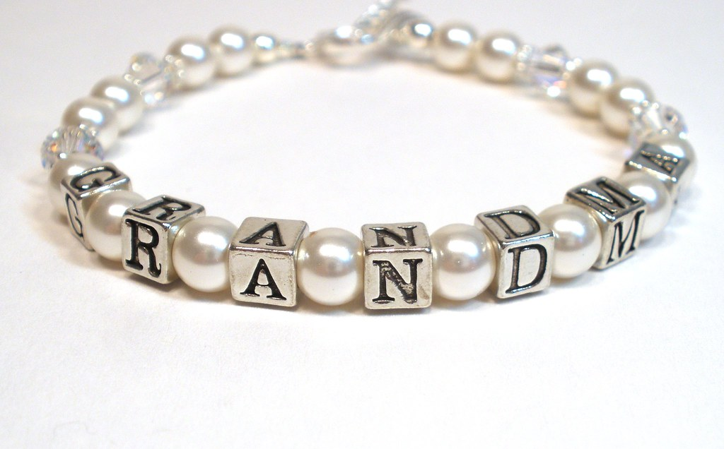 grandma pearl bracelet personalized jewelry mothers day flickr