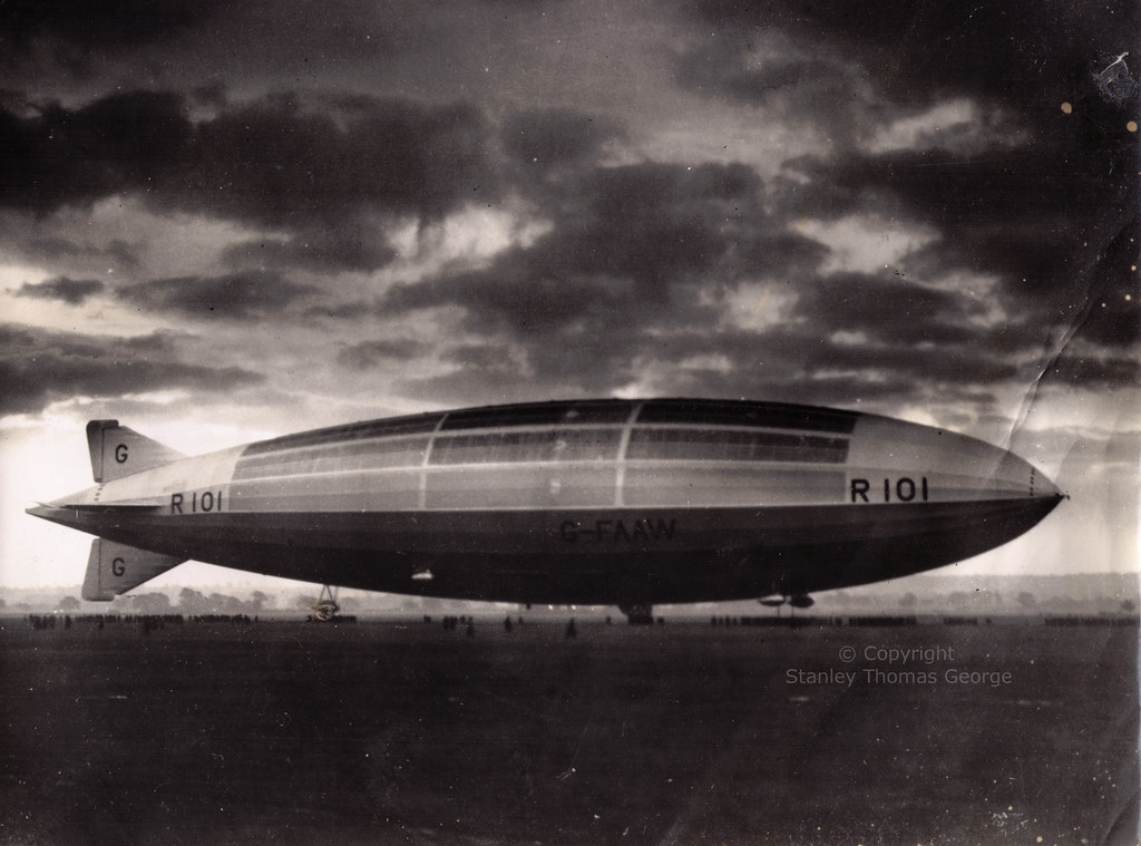 R101 Airship Tethered on Ground