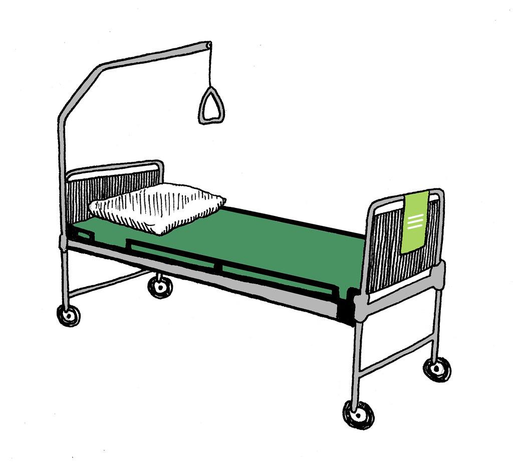 Ziekenhuisbed illustration for trouw newspaper gemma pauwels
