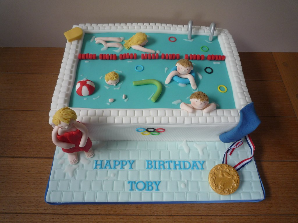 Swimming pool party cake jill 39 s cakes brighton flickr for Swimming pool birthday cake pictures