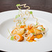 """Halibut with cape gooseberry, chipotle, and masa """"wire"""" 06"""
