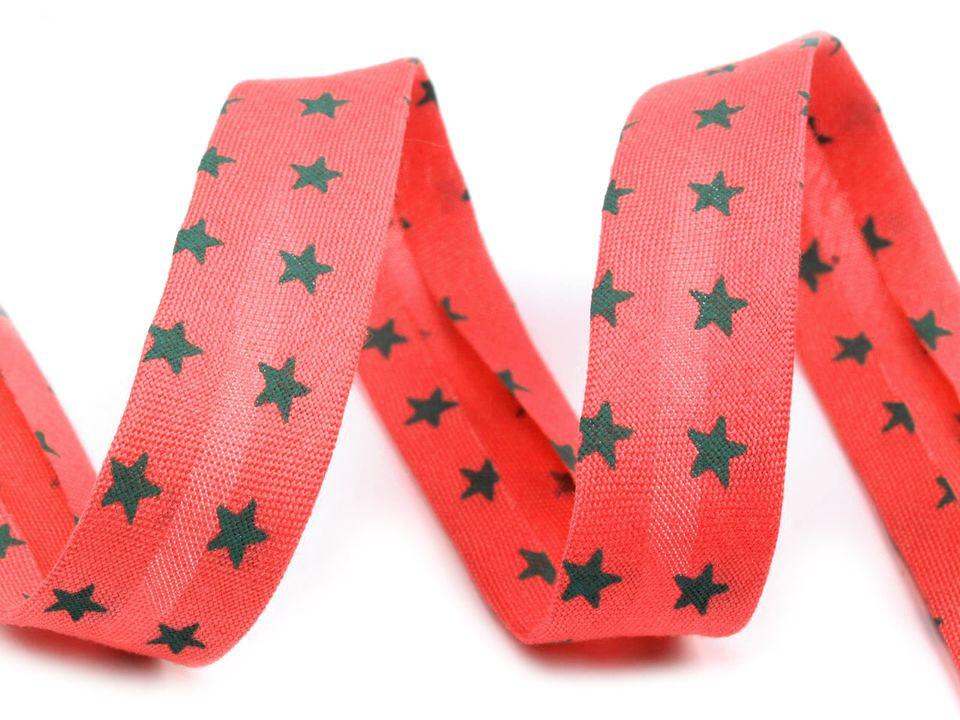 Schrägband Sterne 14mm, rot-schwarz