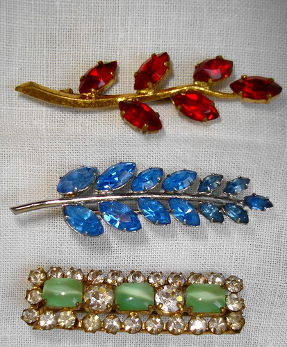bar brooches red blue diamante green glass | by ladychiara
