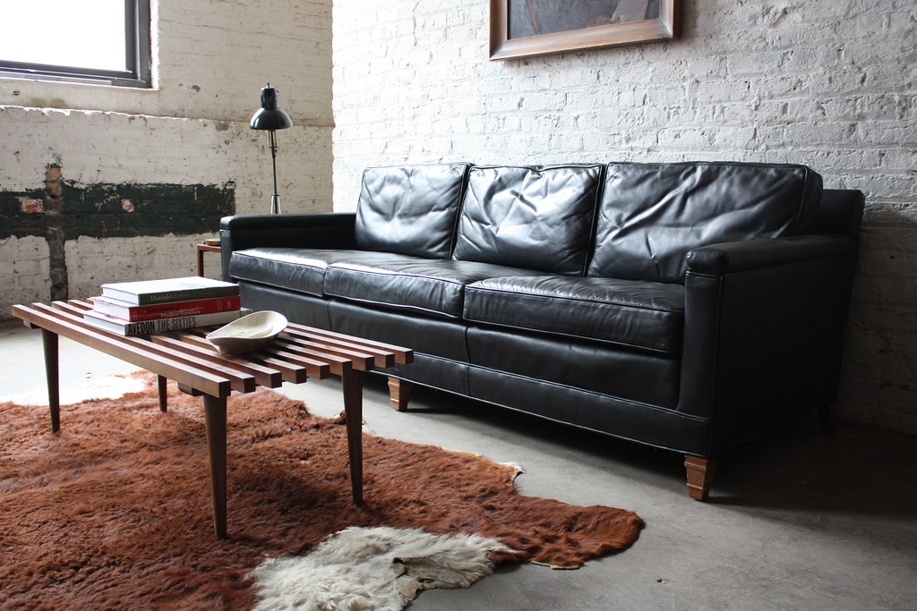 ... 1971 Distinctive Mid Century Modern Drexel Heritage Leather Sofa (High  Point, North Carolina, 1971