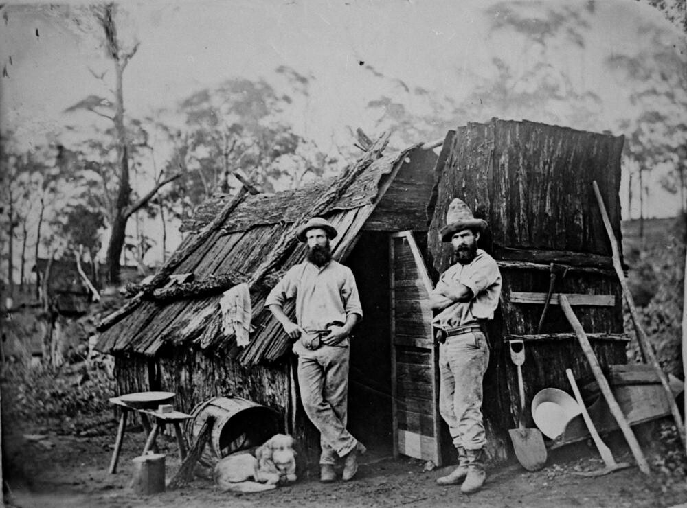Gold Miners Outside A Bark Hut Queensland Ca 1870 Flickr