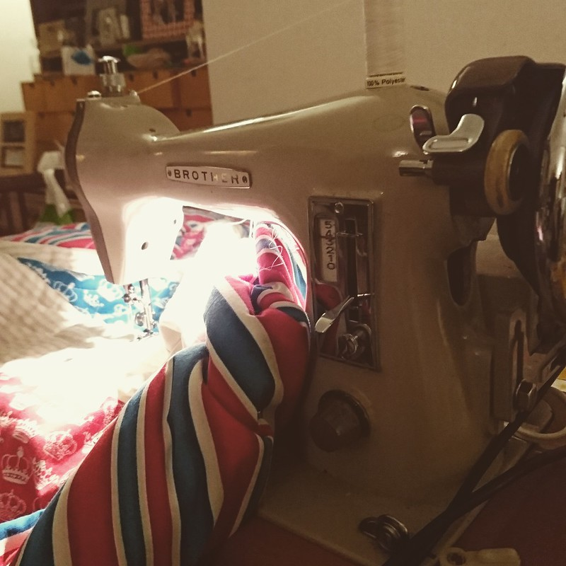 Quilting on a vintage Borther sewing machine