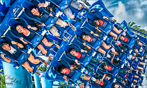 Image of riders on the Manta Roller Coaster at SeaWorld, Orlando, Florida