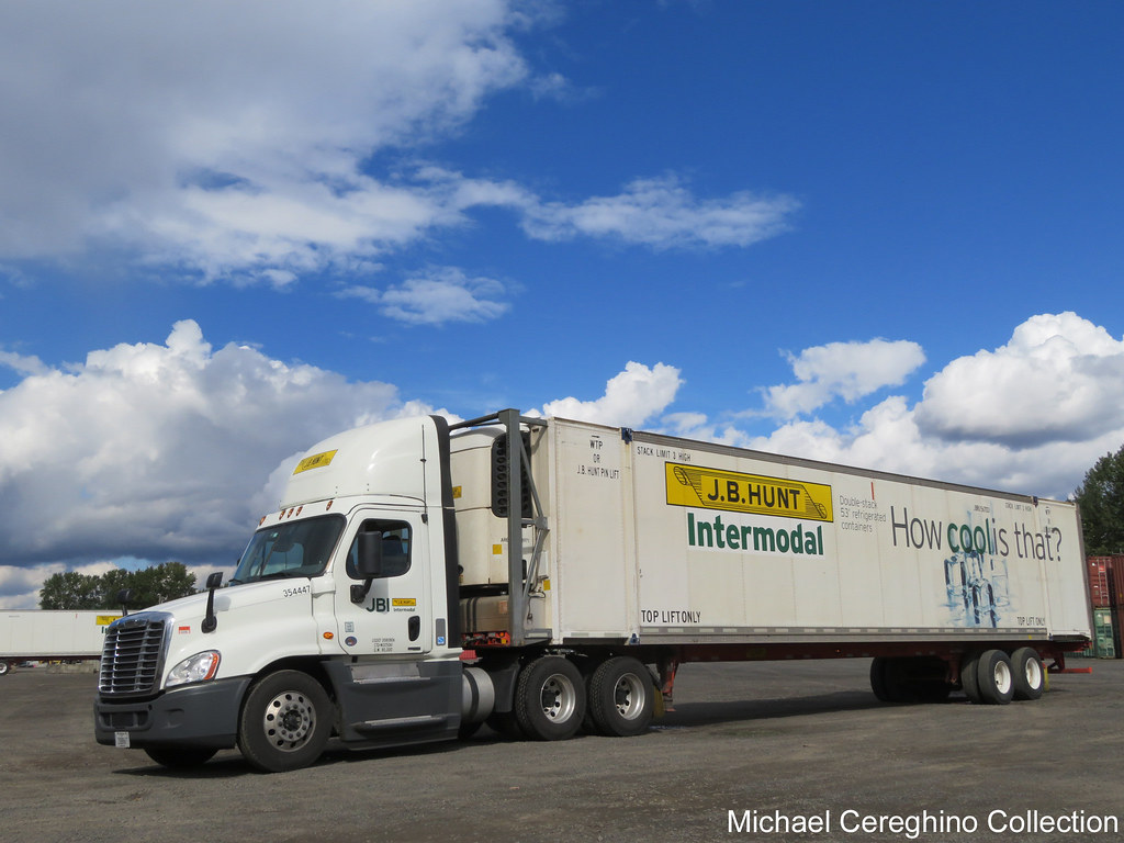 jb hunt intermodl freightliner cascadia with how cool is that refrigerated container by