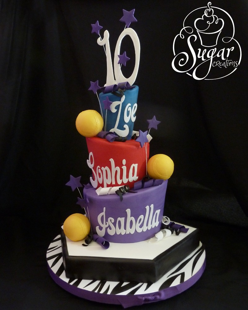 Softball Birthday Cake For Triplets Letters And Numbers We Flickr