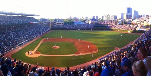 Panoramic view from my seat in section 429 at Wrigley Field | by Julie Rubes