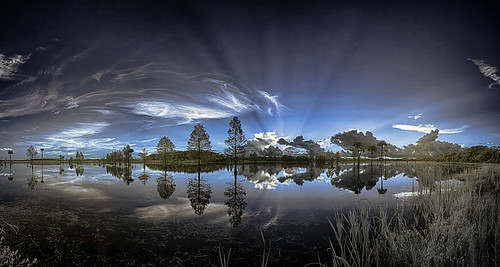 Lake Searcy before dawn (IR false color, panorama) | by Ed Rosack