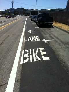New Striping on Frontage Road | by cyclofiend