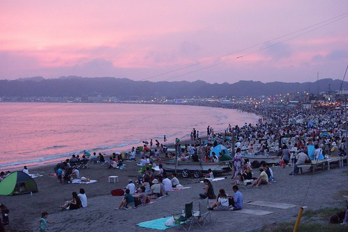 sunset at the beach, Kamakura fireworks | by julesberry2001