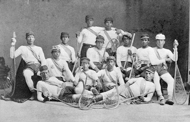 Men from the Mohawk Nation at Kahnawake (Caughnawaga) who were the Canadian lacrosse champions in 1869 / Des hommes de la nation mohawk à Kahnawake (Caughnawaga), les champions de la crosse au Canada en 1869