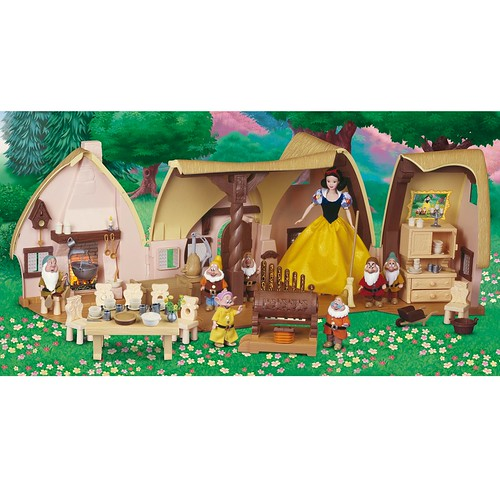 2009 Snow White and the Seven Dwarfs Cottage Play Set - Disney Store Product Image #5 - Cottage Opened With Snow White and Seven Dwarfs Dolls In Forest Scenery | by drj1828