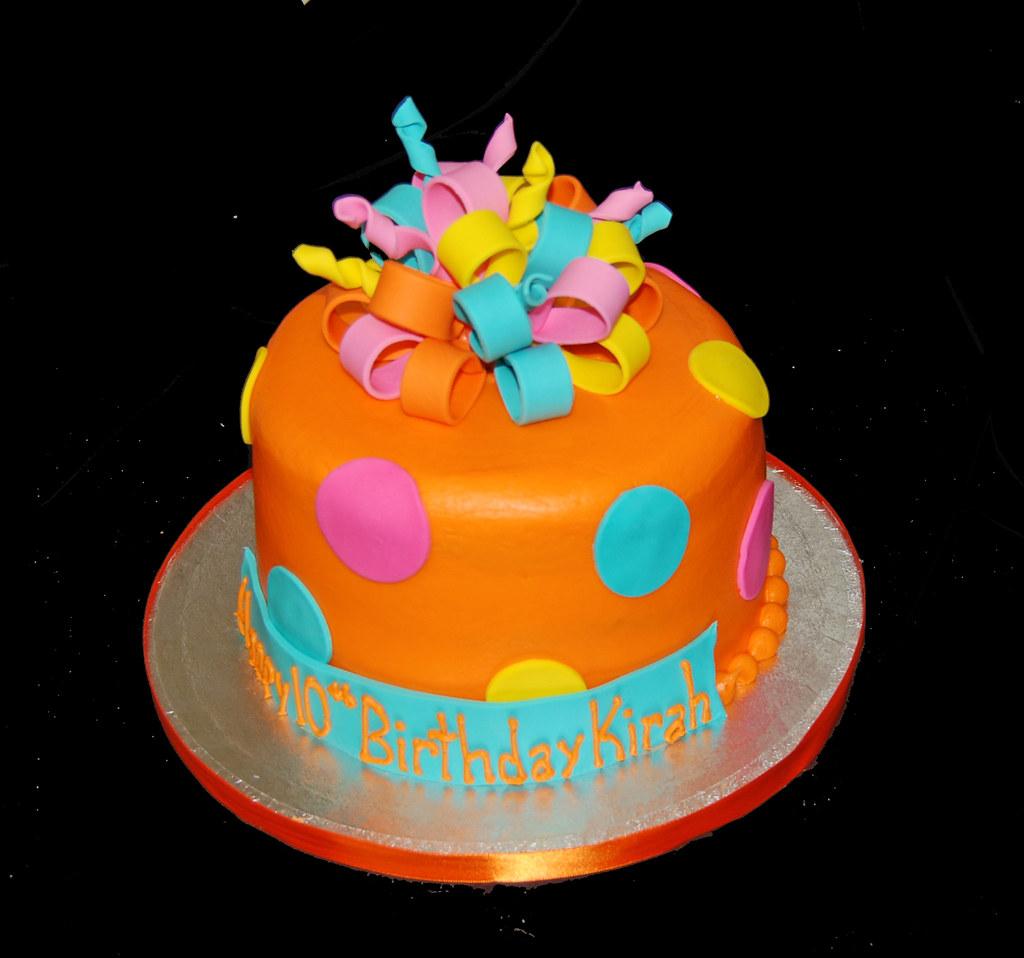 Orange Pink Yellow And Aqua 10th Birthday Cake Dana Brown Flickr
