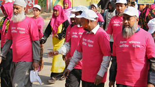 Men marched in Rajshahi, Bangladesh in a compaign to protect women migrant workers from violence | by Say NO - UNiTE