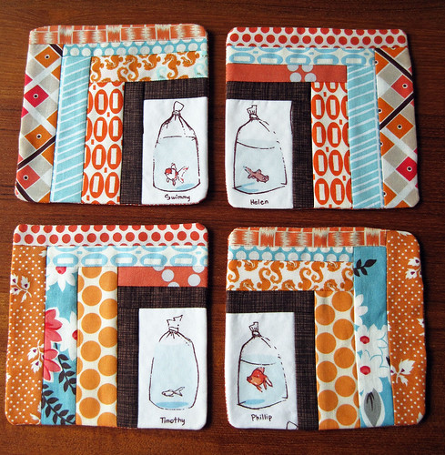 Goldfish in Bags Coasters | by elnorac