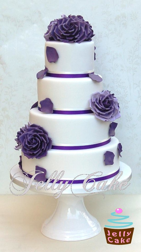 Square Wedding Cakes Purple Flowers