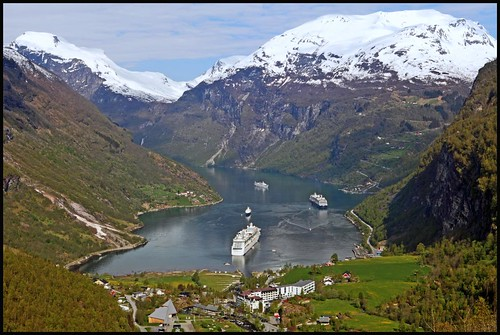 "152/365 THE WORLD--Geiranger, Norway ""Cruise Ships shuttling passengers to town"" 