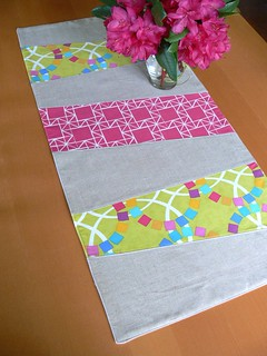 Wonky Stripe Table Runner by Jenny Bartoy | by Stumbles & Stitches