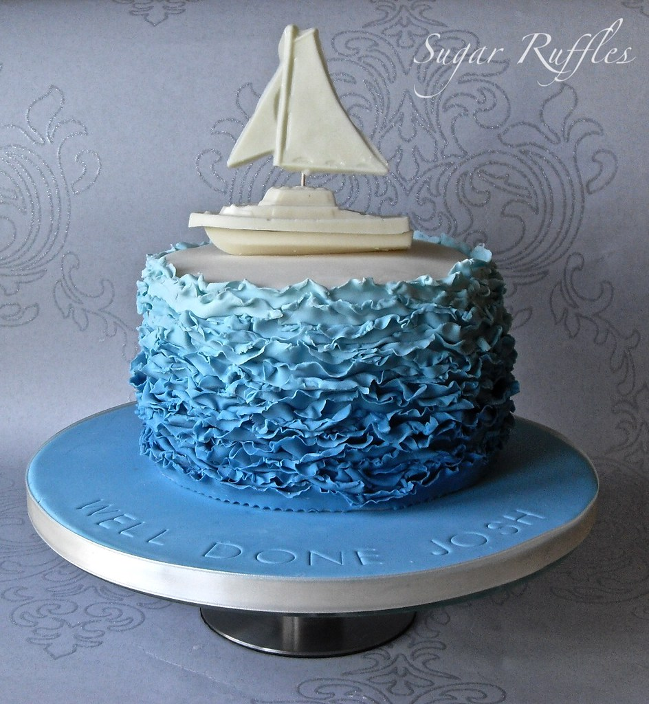 Blue Ombre Ruffle Cake With White Chocolate Boat Www