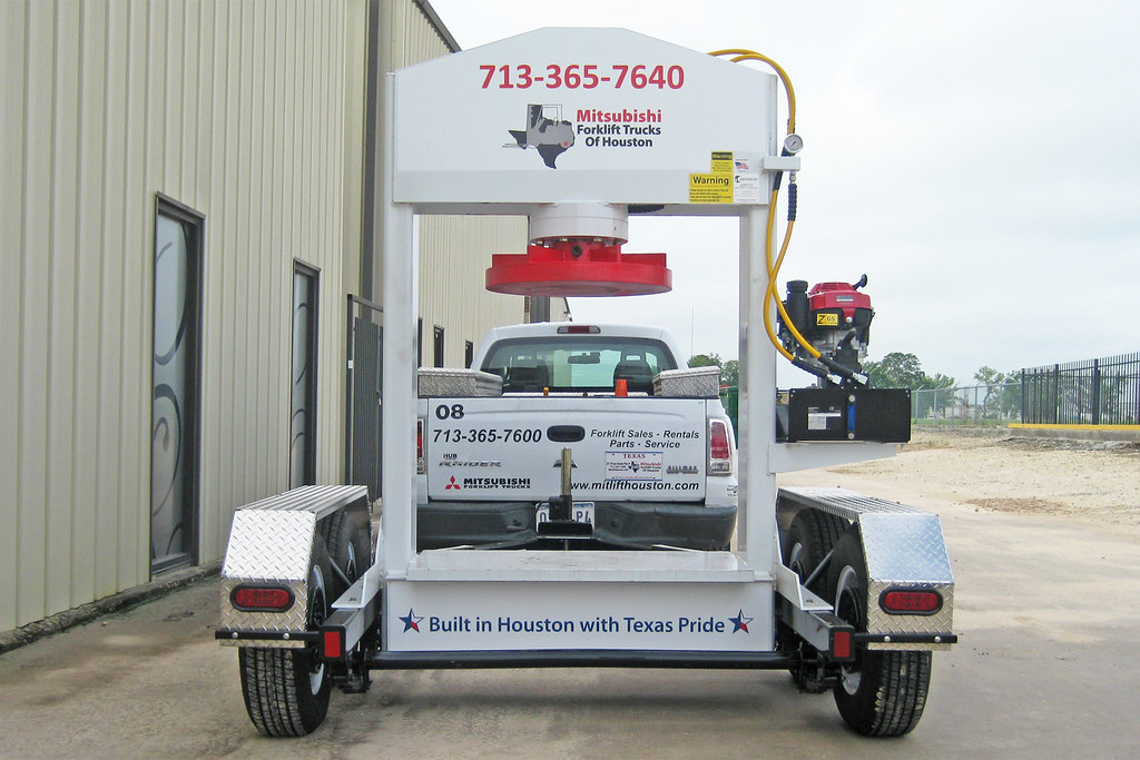 Custom Decals On Forklift Tire Press For Mcfa In Houston